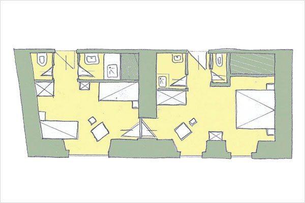 Grundriss Familiensuite 4 – Zimmer in Mauterndorf, Lungau - 3 Sterne Hotel Neuwirt