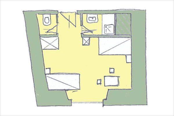 Grundriss Preber – Zimmer in Mauterndorf, Lungau - 3 Sterne Hotel Neuwirt